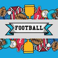 ferramentas de futebol americano com fundo de mensagem de fita