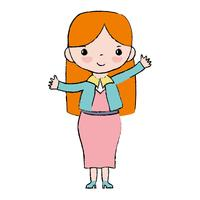 mulher com penteado e design de roupas elegantes vetor