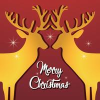 design de cartaz de renas feliz natal vetor