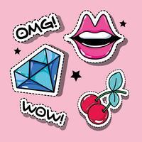 conjunto de patches de moda pop art moda vetor