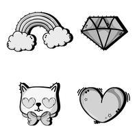 conjunto de moda design de decoração bonito patch vetor