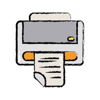 tecnologia de máquina de impressora com documento de negócios vetor