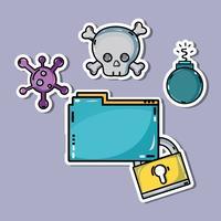 documenta informações com um perigoso vírus cibernético vetor