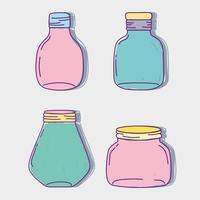 conjunto jarra pedreiro de vidro com formas diferentes vetor