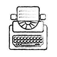 figura retro equipamento de máquina de escrever com documentos de negócios vetor