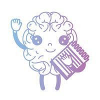 linha kawaii cérebro feliz com ferramenta de caderno vetor