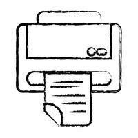 tecnologia de máquina de impressora figura com documento de negócios vetor