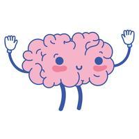 kawaii bonito feliz cérebro com braços e pernas vetor