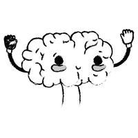 figura kawaii bonito feliz cérebro com braços e pernas vetor