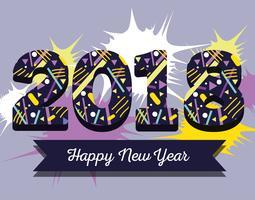 feliz ano novo figuras backgrund design vetor