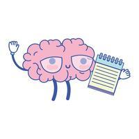 cérebro kawaii feliz com ferramenta de caderno vetor