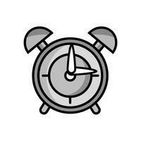 design de objeto de alarme de relógio redondo em tons de cinza vetor
