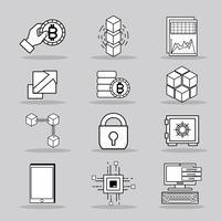 set blockchain security technology com data center vetor