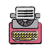 equipamento de máquina de escrever retro com documento de negócios vetor