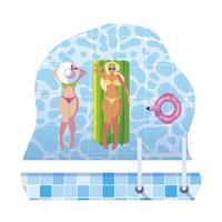 lindas meninas com colchão flutuante flutuando na água vetor