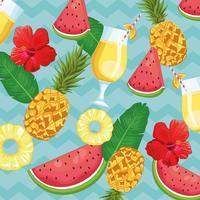 bebida tropical e frutas