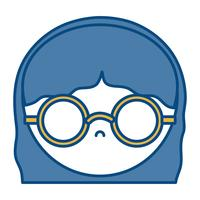 garota com o ícone de óculos vetor