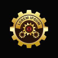 Logotipo da engrenagem do relógio vetor