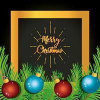 """""""Feliz Natal"""" sinal atrás de ornamentos em ramos de pinheiro vetor"""