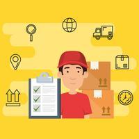 trabalhador de entrega com ícones conjunto vetor