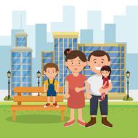 membros da família ao lado de um banco do parque vetor