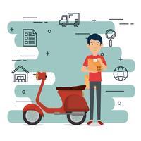 trabalhador de entrega com caráter de motocicleta vetor