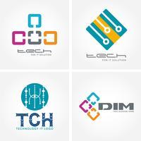 Logotipos de negócios relacionados a tecnologia, computador e dados vetor