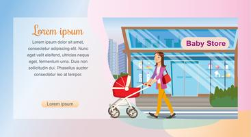 Mãe andando pela loja de bebê vetor