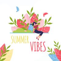 Texto de vibrações de verão e composição de mulher descansando vetor