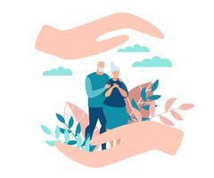 Proteção de faixa plana para membros da família sênior vetor