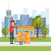 trabalhador de entrega com caráter de caixas de carrinho vetor