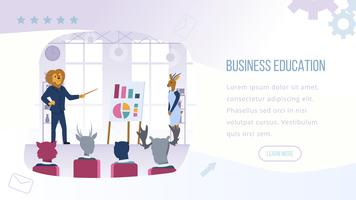 Banner de educação de negócios, homem com cabeça de leão