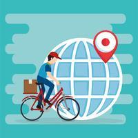 trabalhador de entrega em caráter de bicicleta vetor