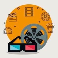 ícones de conjunto de indústria de cinema vetor