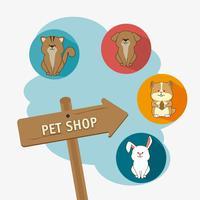 Design de loja de animais. vetor