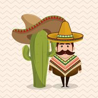 Caráter mexicano com Sombrero