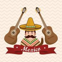 personagem do homem mexicano com ícones da cultura