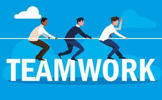 trabalho em equipe com homens de negócios elegante e puxe corda