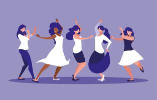 grupo mulheres dançando personagem de avatar vetor