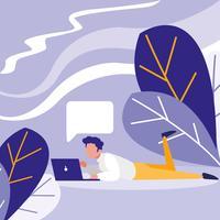 jovem usando laptop na paisagem vetor