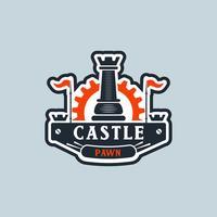 Peça de xadrez com logotipo de engrenagem vetor