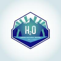 Logotipo da Água Natural H2O vetor