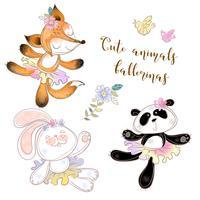 Panda, Bunny e Fox em tutus de balé