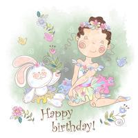Menina bailarina com um cartão de aniversário de coelho