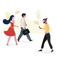 Pessoas que trabalham caminhando para o espaço de trabalho vetor