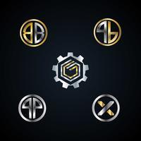 Coleção de logotipo de letra de metal