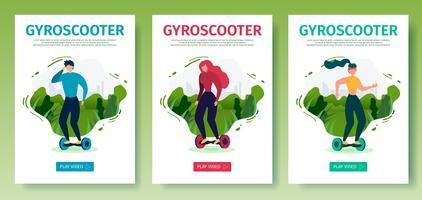 Conjunto de página de aterrissagem móvel oferece passeios Gyroscooter vetor