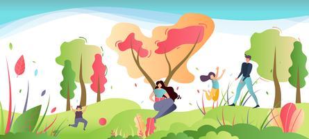 Recreação da família na ilustração da natureza