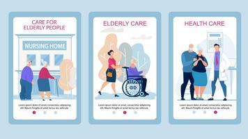Cuidado de cartaz de publicidade para pessoas idosas plana