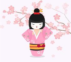 Boneca japonesa com fundo de cerejeira